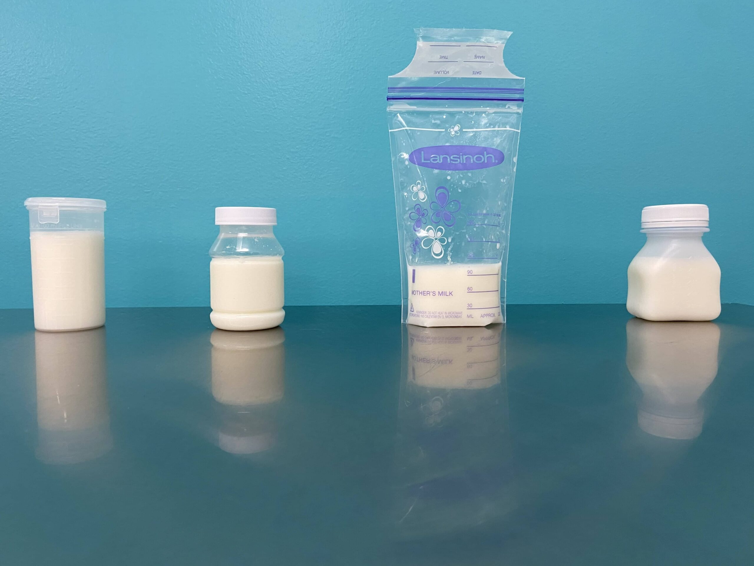 Breast milk storage containers and bags