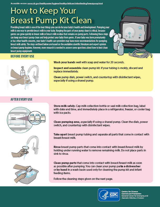 CDC Clean breast pump instructions