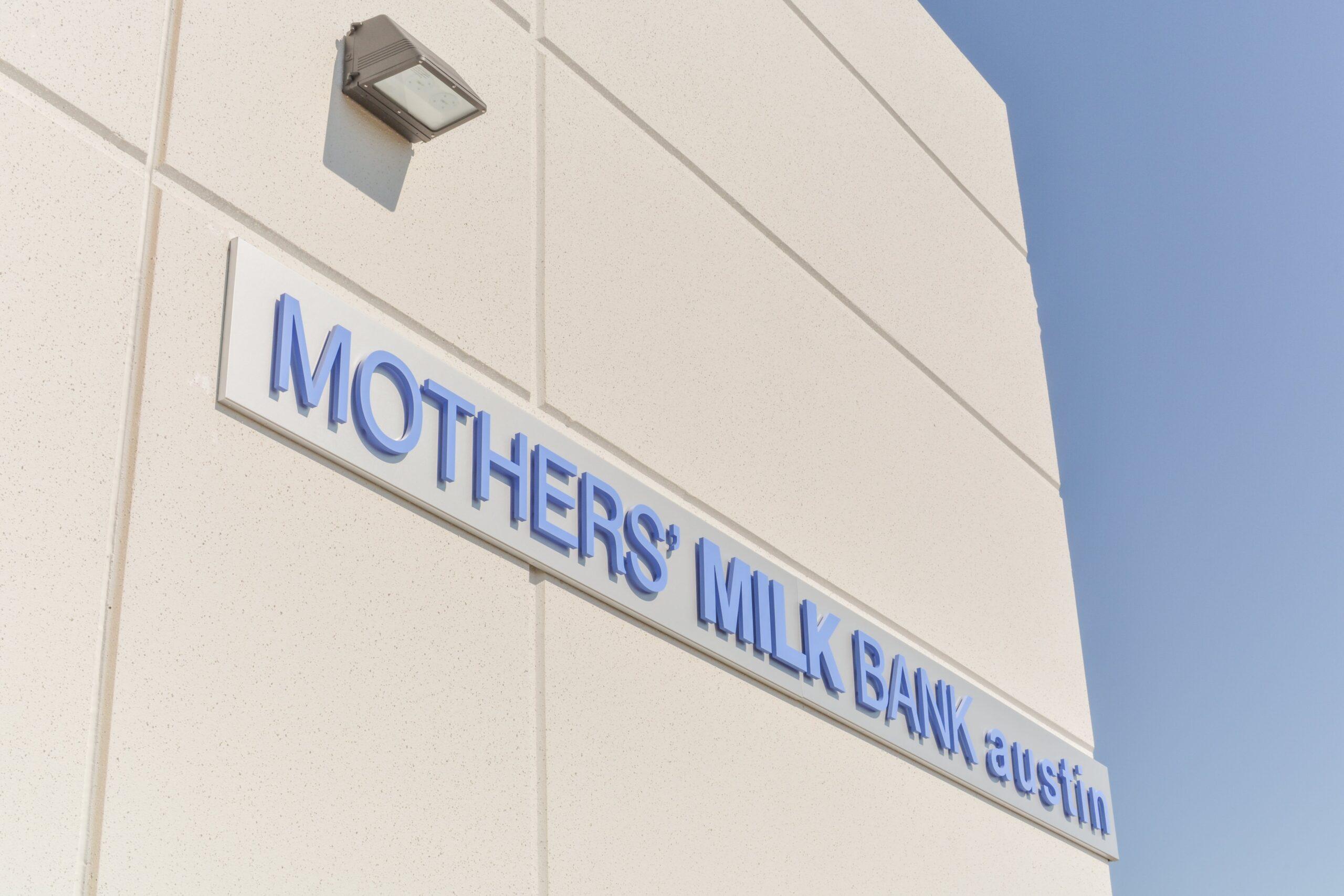 Mothers' Milk Bank Austin Logo on side of building