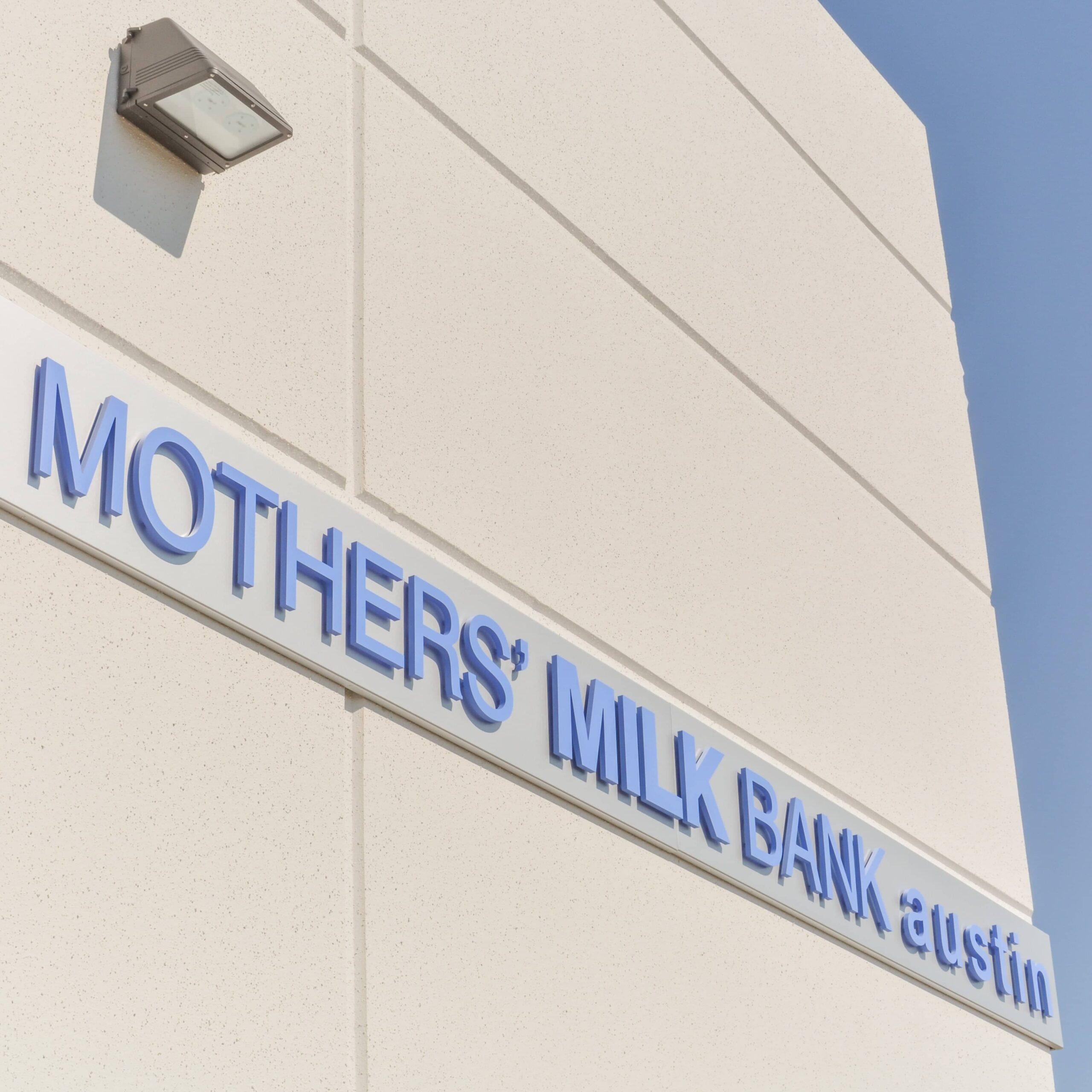 Mothers Milk Bank Austin Logo on Building